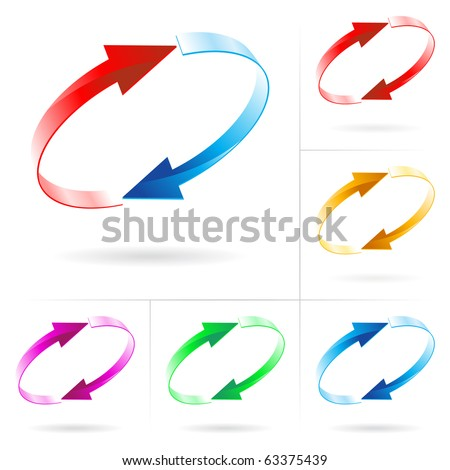 Set #4 of different colored arrow circles isolated on the white