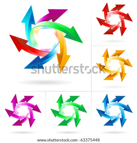 Set #9 of different colored arrow circles isolated on the white