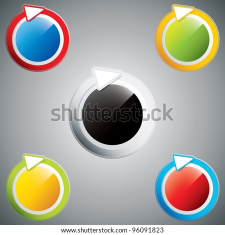 Set of different colored arrow circles.Vector