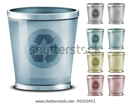 Set of different colored bins
