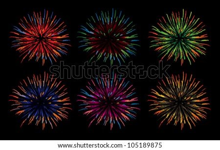 Set of different colored vector fireworks