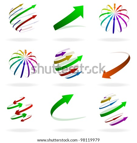 set of different colorful arrow illustrations