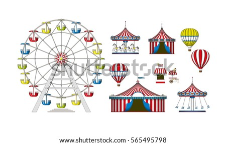 Set of different colorful attractions