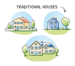 Set of 3 different colorful houses, detached, single family houses with gardens and garage. Hand drawn cartoon sketch vector illustration, marker style coloring.