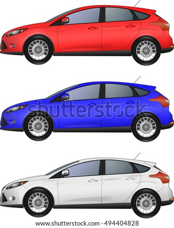 set of different colors cars on