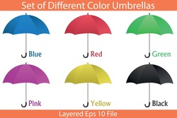 Set of different colors umbrella vector on isolated white background. Hand-drawn cartoon blue, red, green, pink, yellow, and black umbrellas. Printable eps 10 file format.