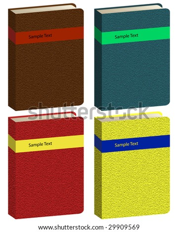 Set of different colors vector book icons