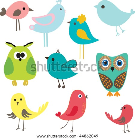 Set of different cute birds.