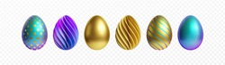 Set of different 3D realistic, shiny, golden, holographic Easter eggs isolated on white background. Vector illustration EPS10