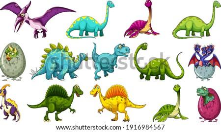 set of different dinosaur