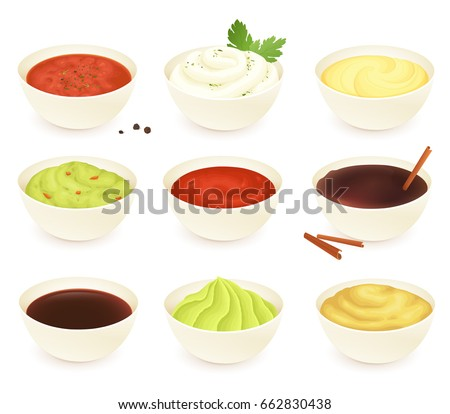 Set of different dipping sauces: salsa, mayonnaise, cheese, guacamole, ketchup, chocolate, soy, wasabi and mustard. Isolated on white background