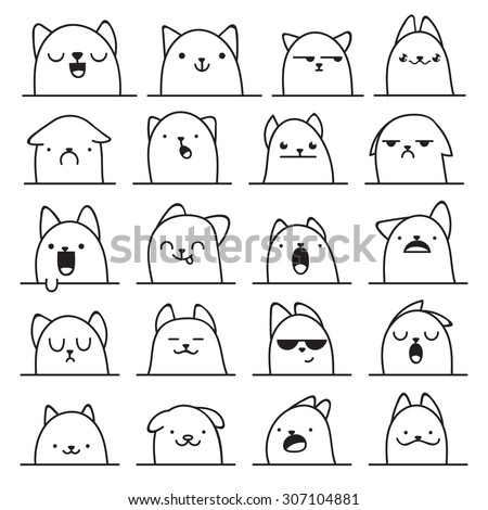 set of 20 different doodle
