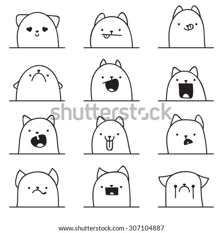 set of 12 different doodle