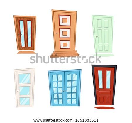 set of different doors in