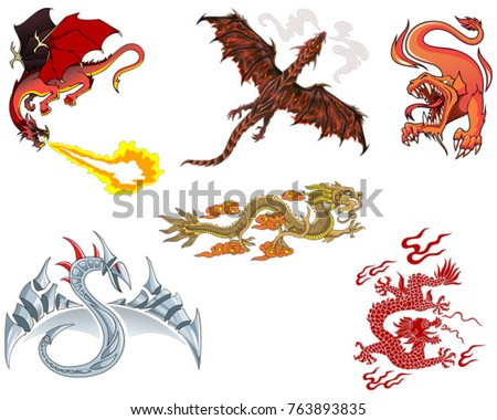 set of different dragons