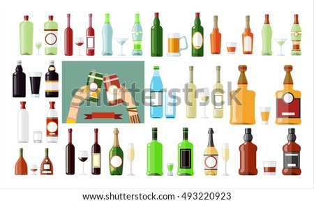 Set of different drinks and cocktails. Vector illustration. #493220923