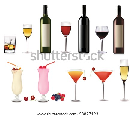 set of different drinks and