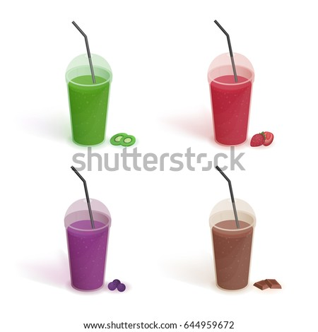 set of different drinks in