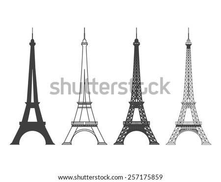 Set of different Eiffel Tower in Paris Vector Silhouette. Landmark and structure