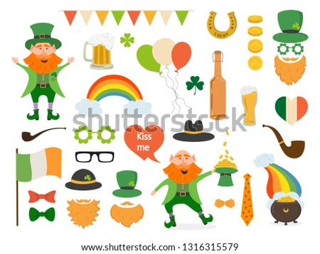 Set of different elements and photo booth props for St. Patrick's Day. Saint Patrick's Day concept. Vector illustration.