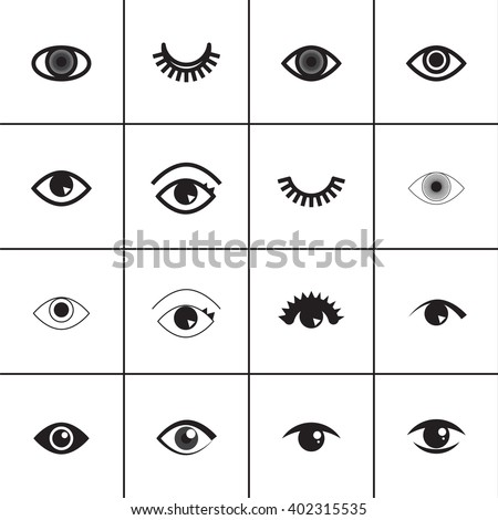 set of different eyes icons