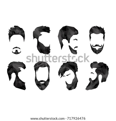 Set of different faces with beards in polygonal style
