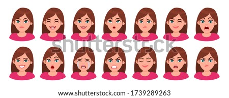 Set of different facial expressions female character. Collection of young woman feelings. Beautiful girl emoji with various emotions. Collage of cute lady's portrait. Cartoon illustration in vector. Foto stock ©