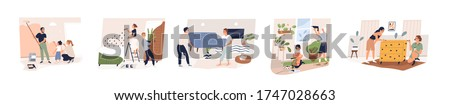 Set of different family, couple and friend making home repair together vector flat illustration. Collection of various people doing apartment renovation isolated on white background