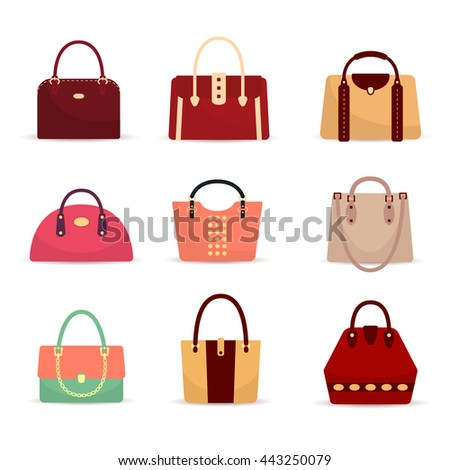 Set of different fashion woman's bags
