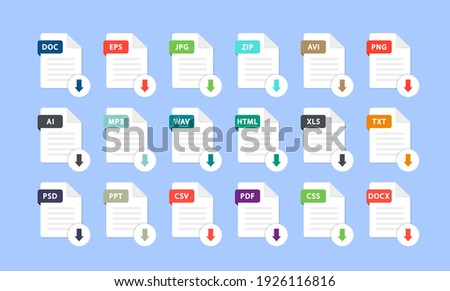 Set of different file formats. Download file. File with and a down arrow sign. Loading document concept. Download buttons for web site or app. Document types in flat style: pdf, doc, png, jpg, psd. Сток-фото ©