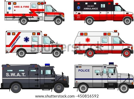 Set of different fire truck, police and ambulance cars in flat style isolated on white background. Differences  vector silhouette illustration of special machines