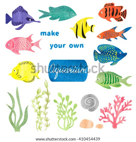 Set Of Different Fishes And Decorations For Making Your