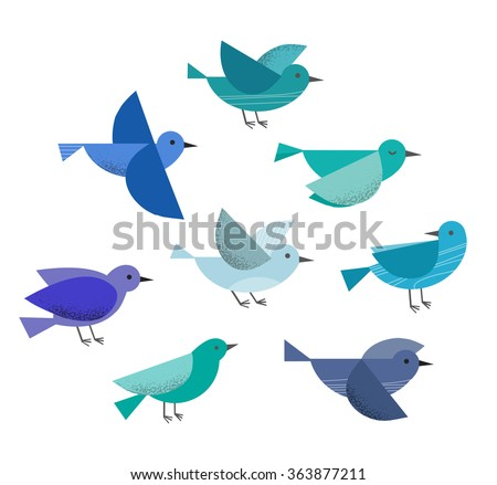 Set of different flying birds icons. Vector illustration