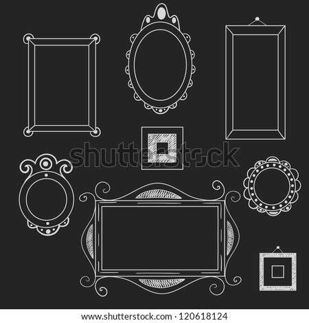 Set of different frames and borders on the chalkboard background ...