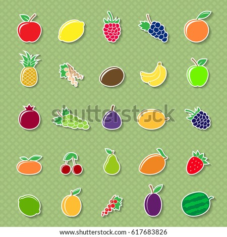 Set of different fruit icons isolated on white background