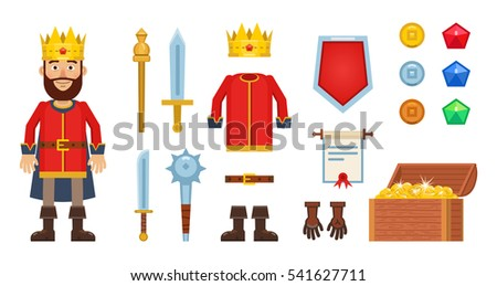 Set of different game elements with cartoon king character. Sword, clothing, shield, weapon, mace, crown, scepter, gold coins, scroll, gemstones and other icons. Simple style vector illustration