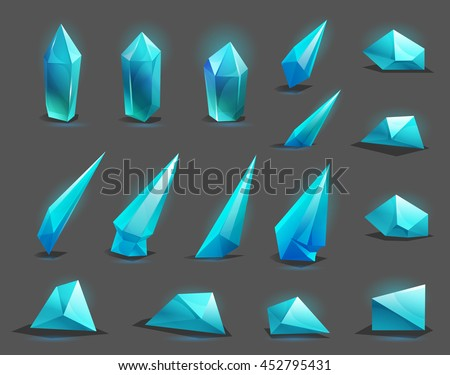 Set of different game resources cartoon crystals. Vector illustration.