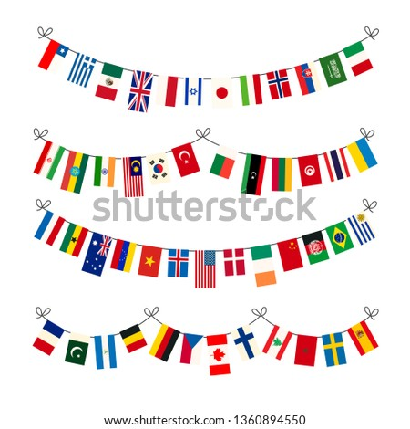 Set of different garlands with true proportions flags of world sovereign states on white