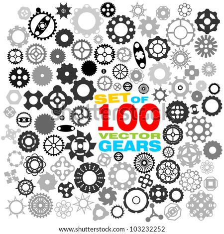 SET of 100 different gears VECTOR (part 3)