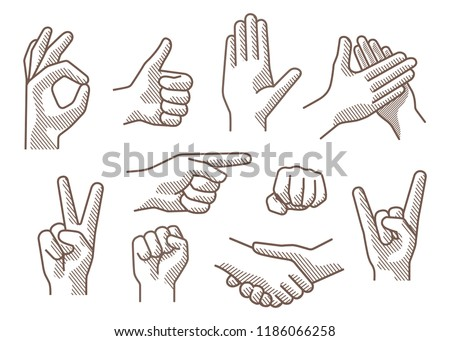 Set of different gestures hand, signs and signals.  Handshake, ok, stop,  pointing, victory, applause, fist, rock roll gesture. Outline vector illustration on white bacground.