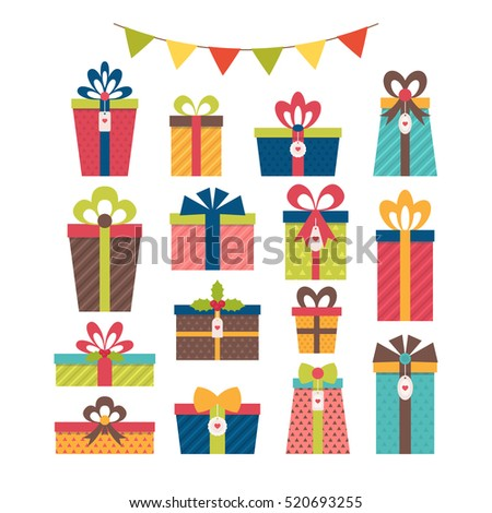 Set of different gift boxes. Christmas presents. Flat design. Colorful wrapped gift boxes. Birthday surprise. Vector illustration