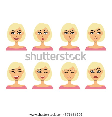 set of different girl facial