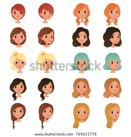 set of different girl's hair