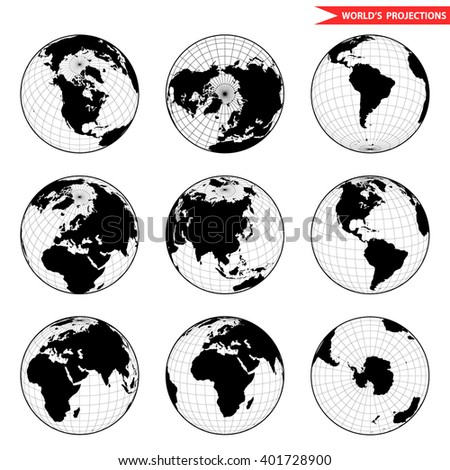set of different globe