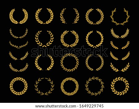Set of different golden silhouette laurel foliate, wheat and olive wreaths depicting an award, achievement, heraldry, nobility, emblem, logo. Vector illustration.