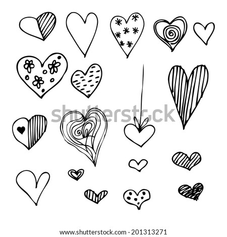 set of different graphic hearts