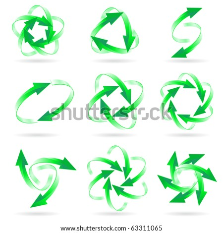 Set of different green arrow circles isolated on the white