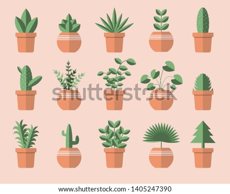 Set of different green plant pots vector. gardening and save the world concept