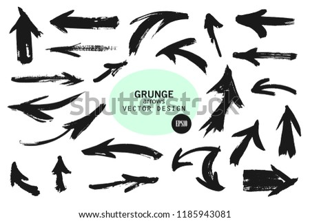 Set of different grunge brush arrows, pointers.Hand drawn paint object for use in your design.Vector illustration #1185943081