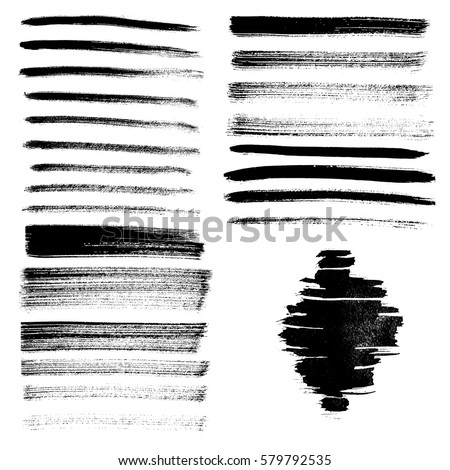 Set of different grunge brush strokes and stains. Vector illustration.